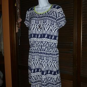 LMD Blue & White Geometric Aztec Print Dress, M